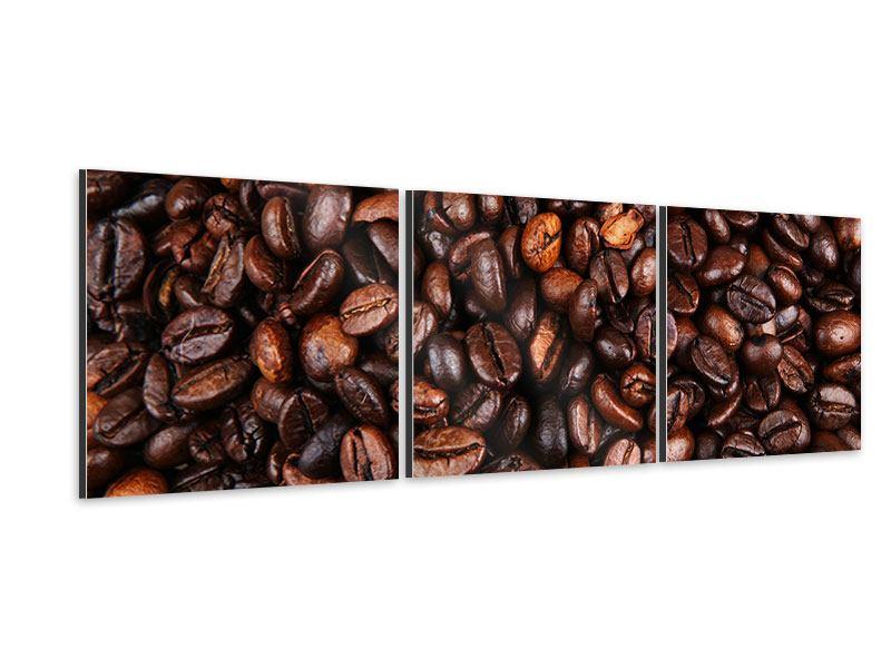 Panorama Aluminiumbild 3-teilig Kaffeebohnen in XXL