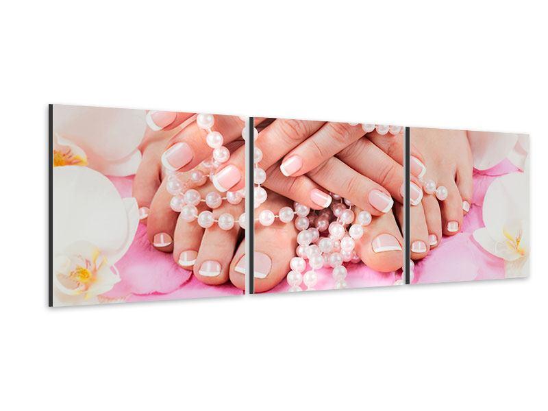 Panorama Aluminiumbild 3-teilig Hände und Füsse