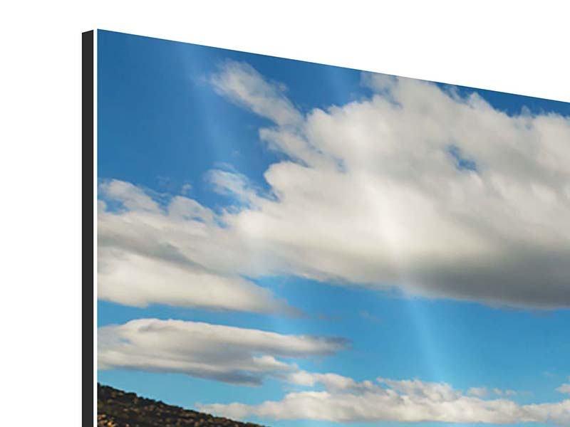 Panorama Aluminiumbild 3-teilig Wasserspiegelung am See