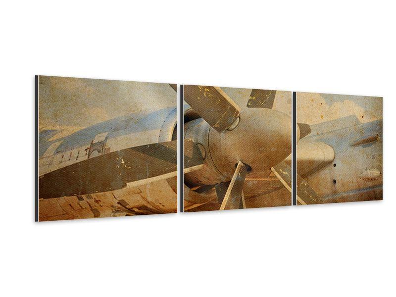 Panorama Aluminiumbild 3-teilig Propellerflugzeug im Grungestil