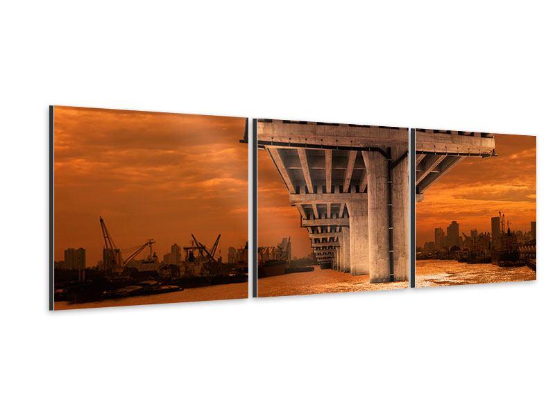 Panorama Aluminiumbild 3-teilig Die Brücke