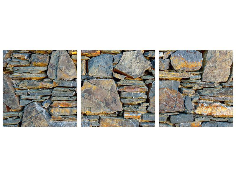 Panorama Aluminiumbild 3-teilig Natürliche Steinmauer
