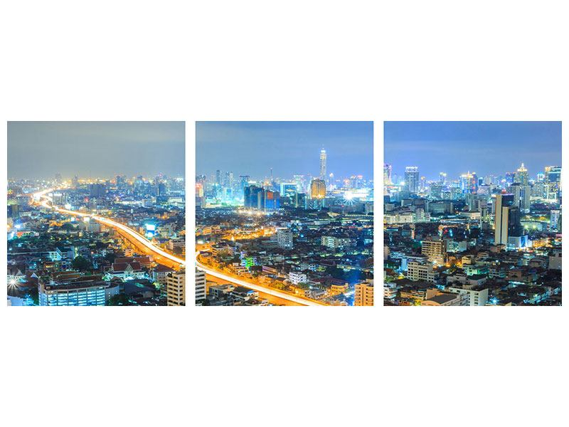 Panorama Aluminiumbild 3-teilig Skyline Bangkok im Fieber der Nacht