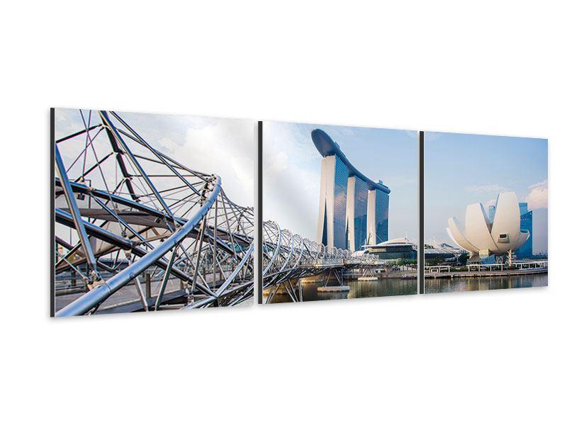 Panorama Aluminiumbild 3-teilig Singapur