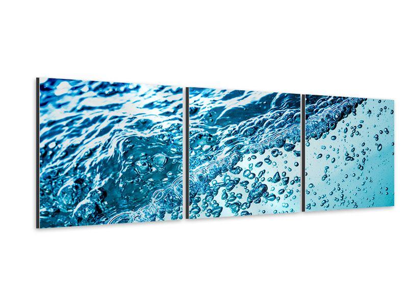 Panorama Aluminiumbild 3-teilig Wasser in Bewegung