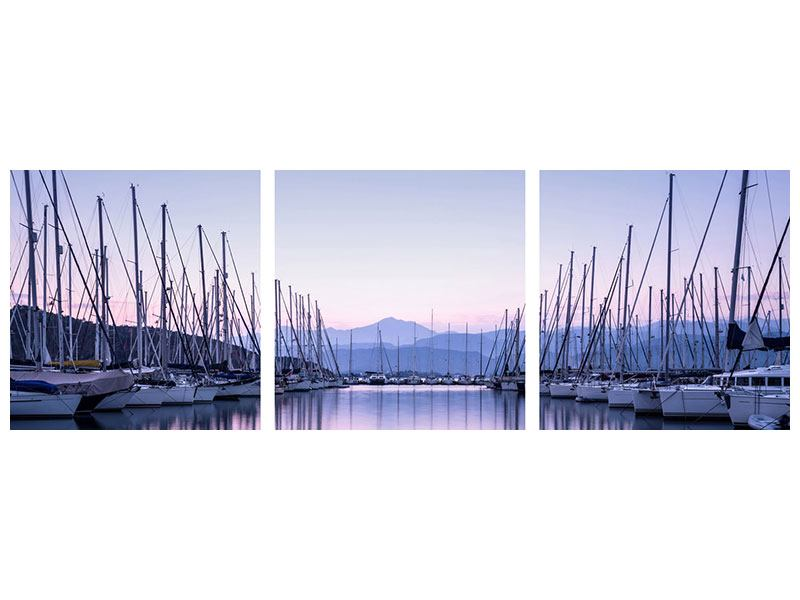 Panorama Aluminiumbild 3-teilig Yachthafen