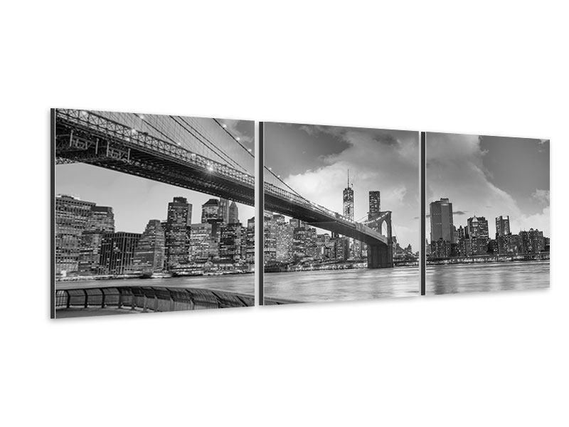 Panorama Aluminiumbild 3-teilig Skyline Schwarzweissfotografie Brooklyn Bridge NY
