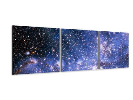 Panorama Aluminiumbild 3-teilig Sternenhimmel