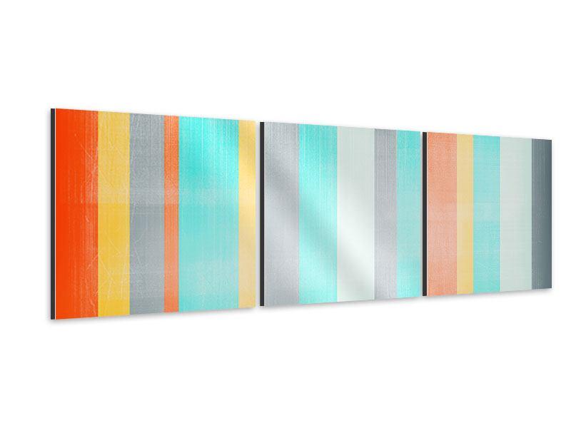 Panorama Aluminiumbild 3-teilig Grunge Streifen