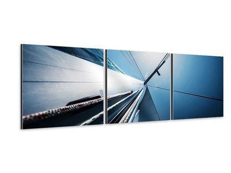 Panorama Aluminiumbild 3-teilig Segelschiff Close Up