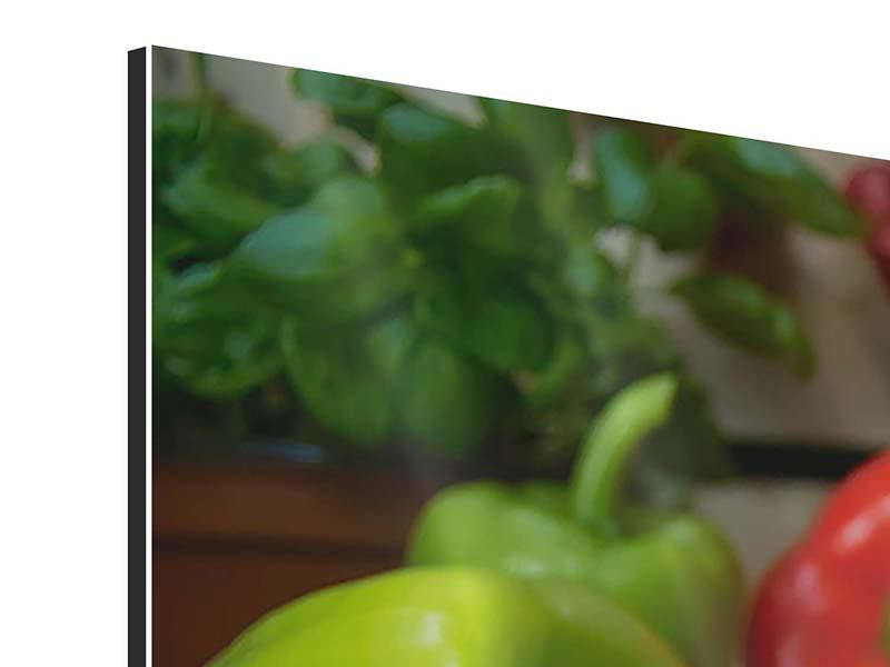 Panorama Aluminiumbild 3-teilig Mediterranes Gemüse