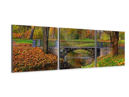 Panorama Aluminiumbild 3-teilig Romantischer Park