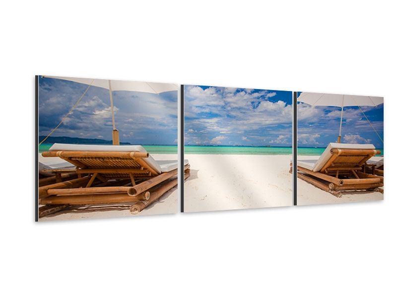 Panorama Aluminiumbild 3-teilig Liegen am Strand
