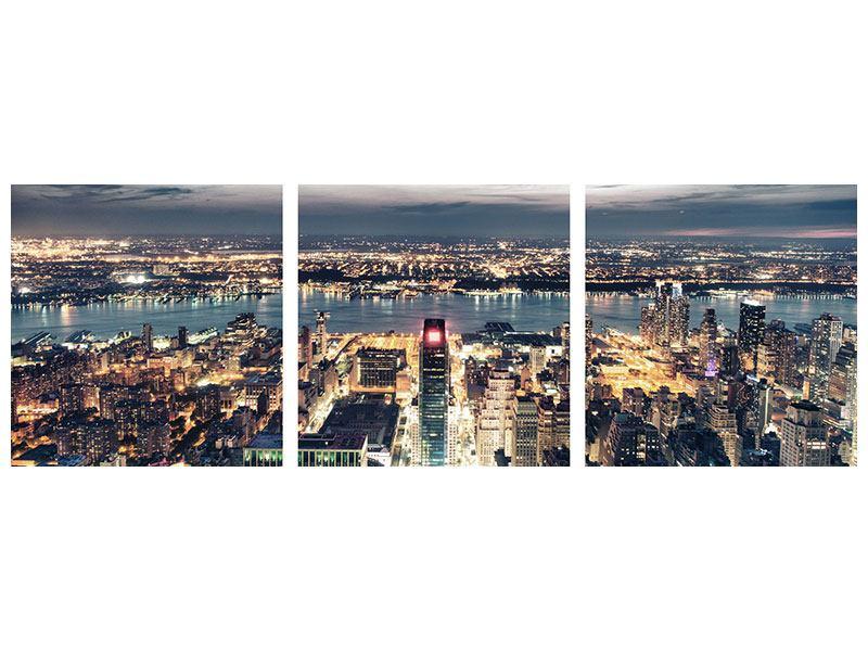 Panorama Aluminiumbild 3-teilig Skyline Manhattan Citylights