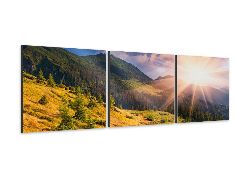 Panorama Aluminiumbild 3-teilig Herbstanfang
