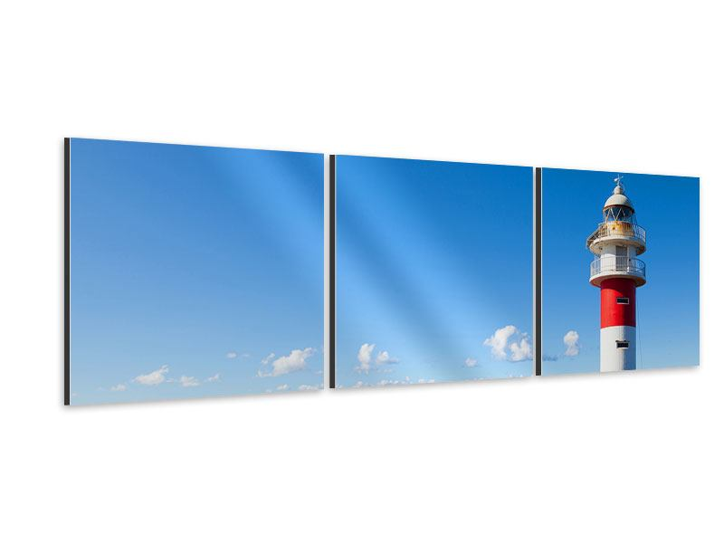 Panorama Aluminiumbild 3-teilig Leuchtturm in Punta Teno