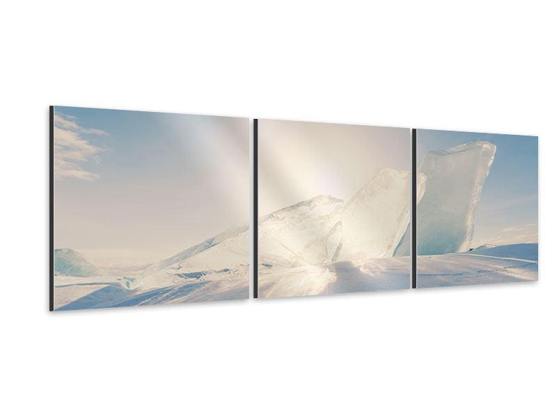 Panorama Aluminiumbild 3-teilig Eislandschaft