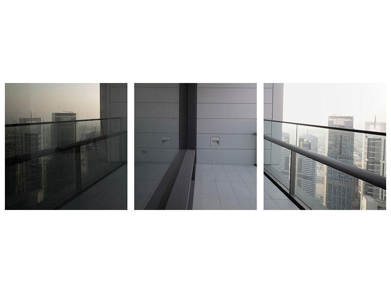 Panorama Aluminiumbild 3-teilig Balkon in Dubai