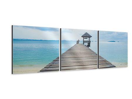 Panorama Aluminiumbild 3-teilig Ozean-Steg