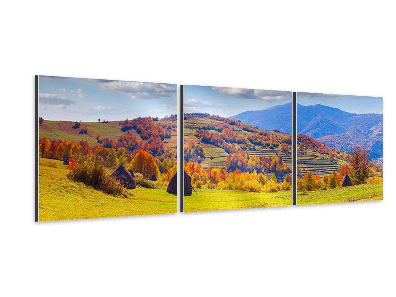 Panorama Aluminiumbild 3-teilig Herbstliche Berglandschaft