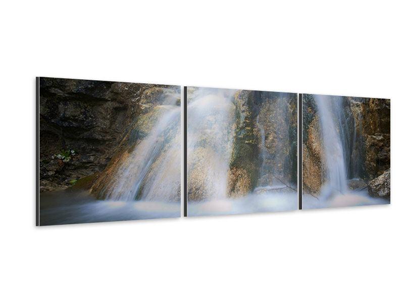 Panorama Aluminiumbild 3-teilig Imposanter Wasserfall