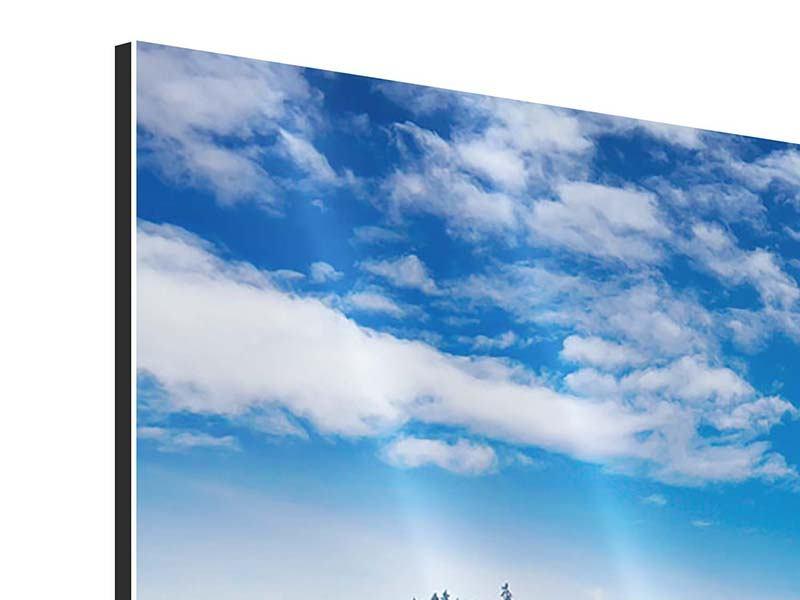 Panorama Aluminiumbild 3-teilig Wolken ziehen auf
