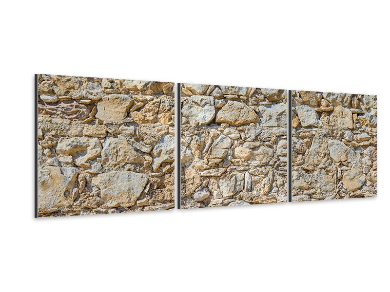 Panorama Aluminiumbild 3-teilig Sandsteinmauer