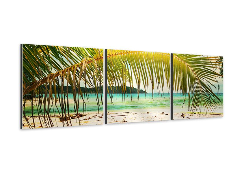 Panorama Aluminiumbild 3-teilig Ab in die Hängematte