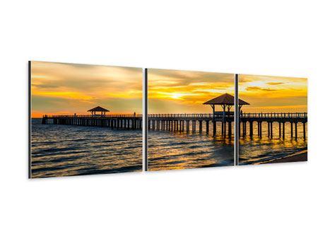 Panorama Aluminiumbild 3-teilig Brücke der Liebe