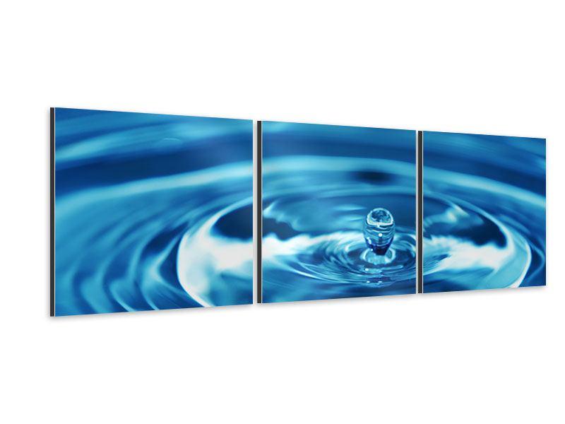 Panorama Aluminiumbild 3-teilig Der Wassertropfen