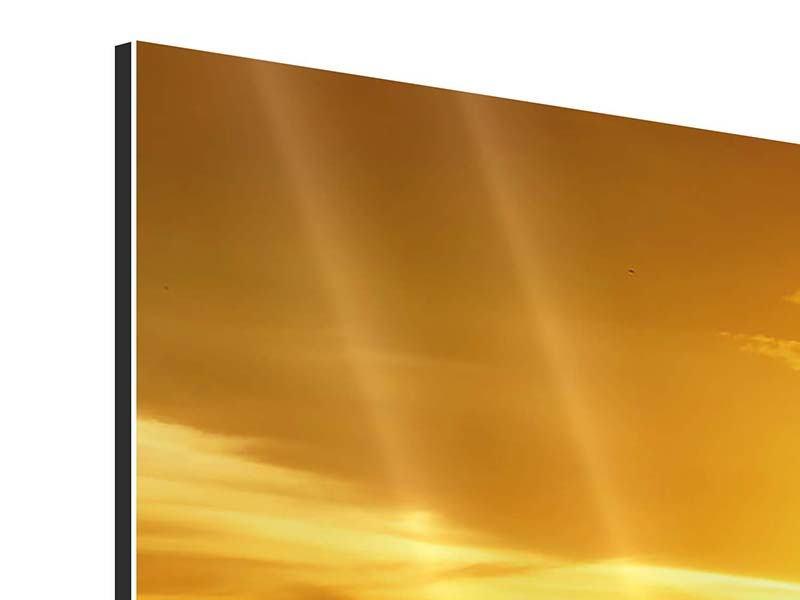 Panorama Aluminiumbild 3-teilig Traumhafter Sonnenuntergang