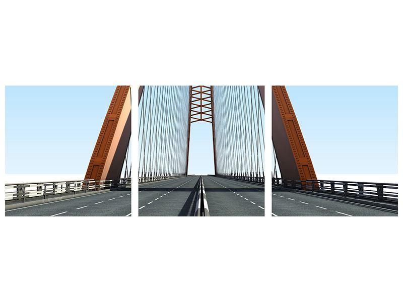 Panorama Aluminiumbild 3-teilig Brückenpanorama