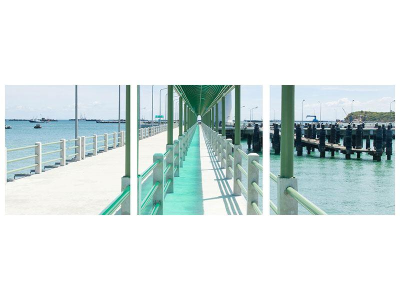 Panorama Aluminiumbild 3-teilig Die Brücke am Meer