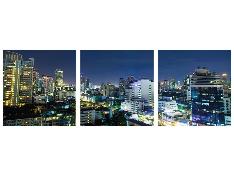 Panorama Aluminiumbild 3-teilig Skyline Nachts in Bangkok