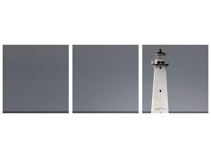 Panorama Aluminiumbild 3-teilig Der Leuchtturm bei Nacht