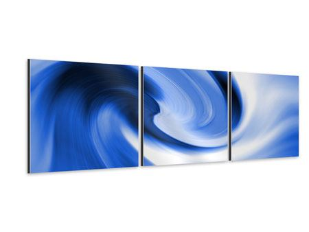 Panorama Aluminiumbild 3-teilig Abstrakte blaue Welle