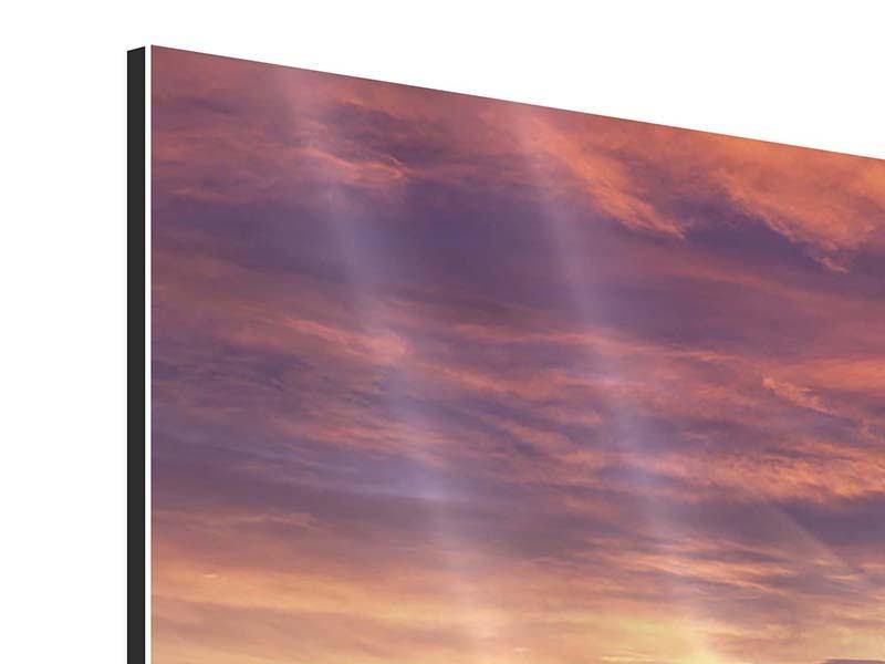 Panorama Aluminiumbild 3-teilig Sonnenaufgang Winterlandschaft