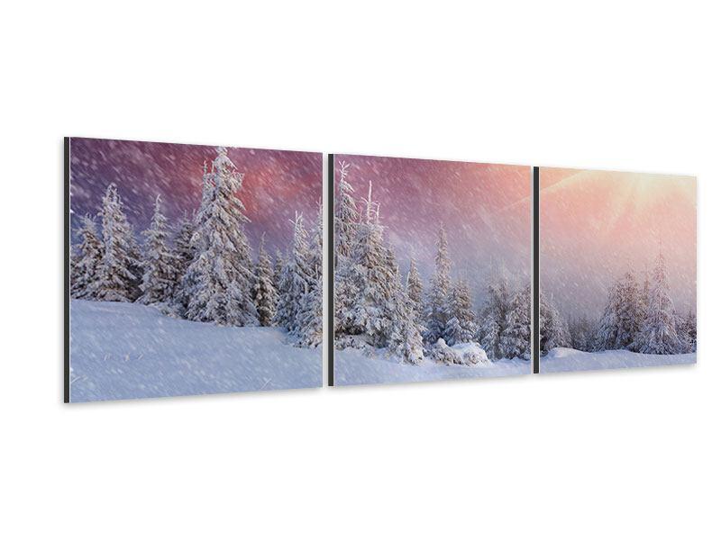 Panorama Aluminiumbild 3-teilig Mystischer Schneesturm