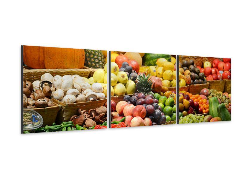 Panorama Aluminiumbild 3-teilig Obstmarkt