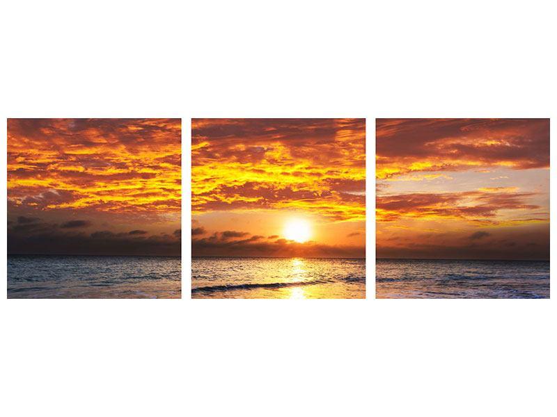 Panorama Aluminiumbild 3-teilig Entspannung am Meer