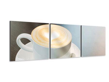 Panorama Aluminiumbild 3-teilig Lieblingskaffee