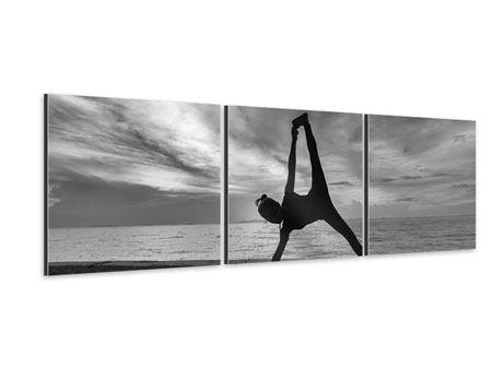 Panorama Aluminiumbild 3-teilig Yoga am Strand