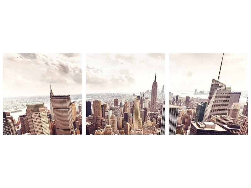 Panorama Aluminiumbild 3-teilig Skyline Über den Dächern Manhattans