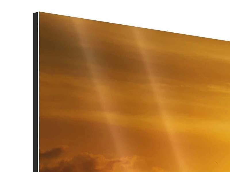 Panorama Aluminiumbild 3-teilig Sonnenuntergang See