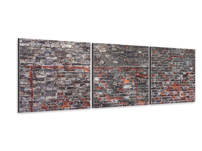 Panorama Aluminiumbild 3-teilig Alte Backsteine