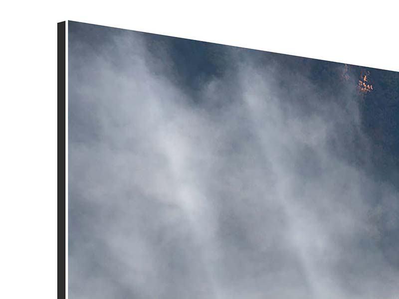 Panorama Aluminiumbild 3-teilig Mondscheinwald