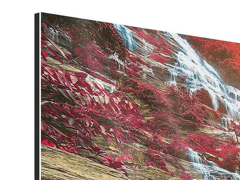 Panorama Aluminiumbild 3-teilig Exotischer Wasserfall