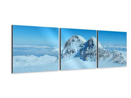 Panorama Aluminiumbild 3-teilig Über den Wolken