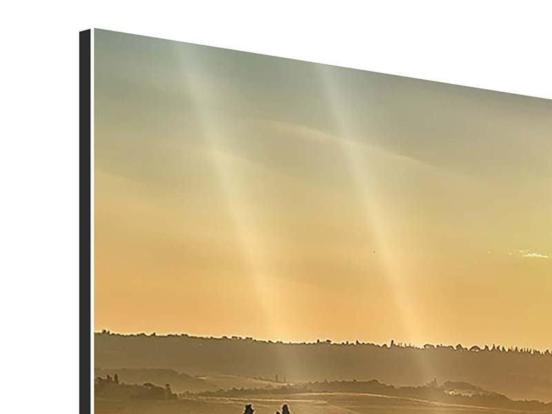 Panorama Aluminiumbild 3-teilig Sonnenuntergang im Gebirge