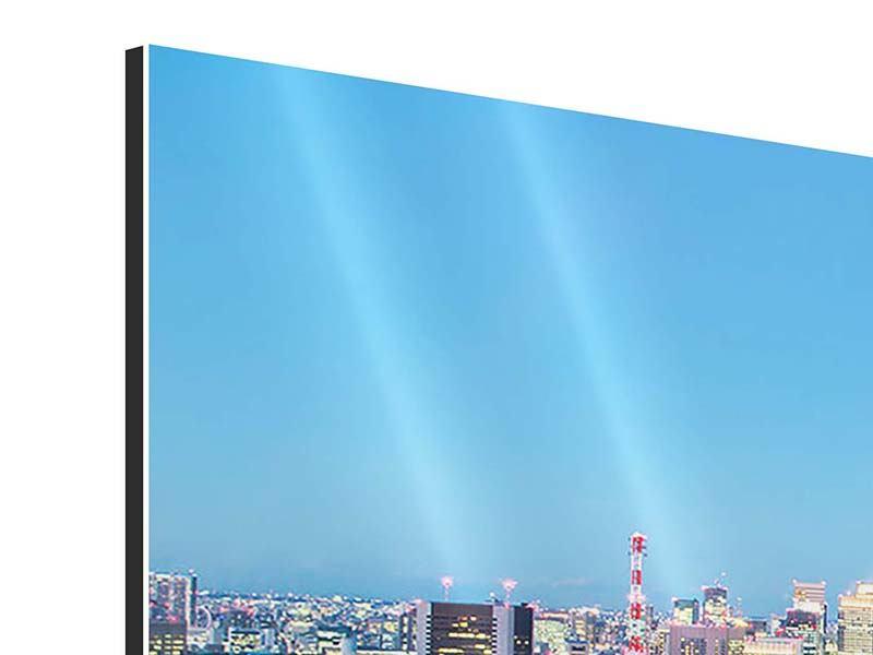 Panorama Aluminiumbild 3-teilig Skyline Tokio im Lichtermeer